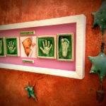 huella de manos y pies bebe con foto enmarcadas