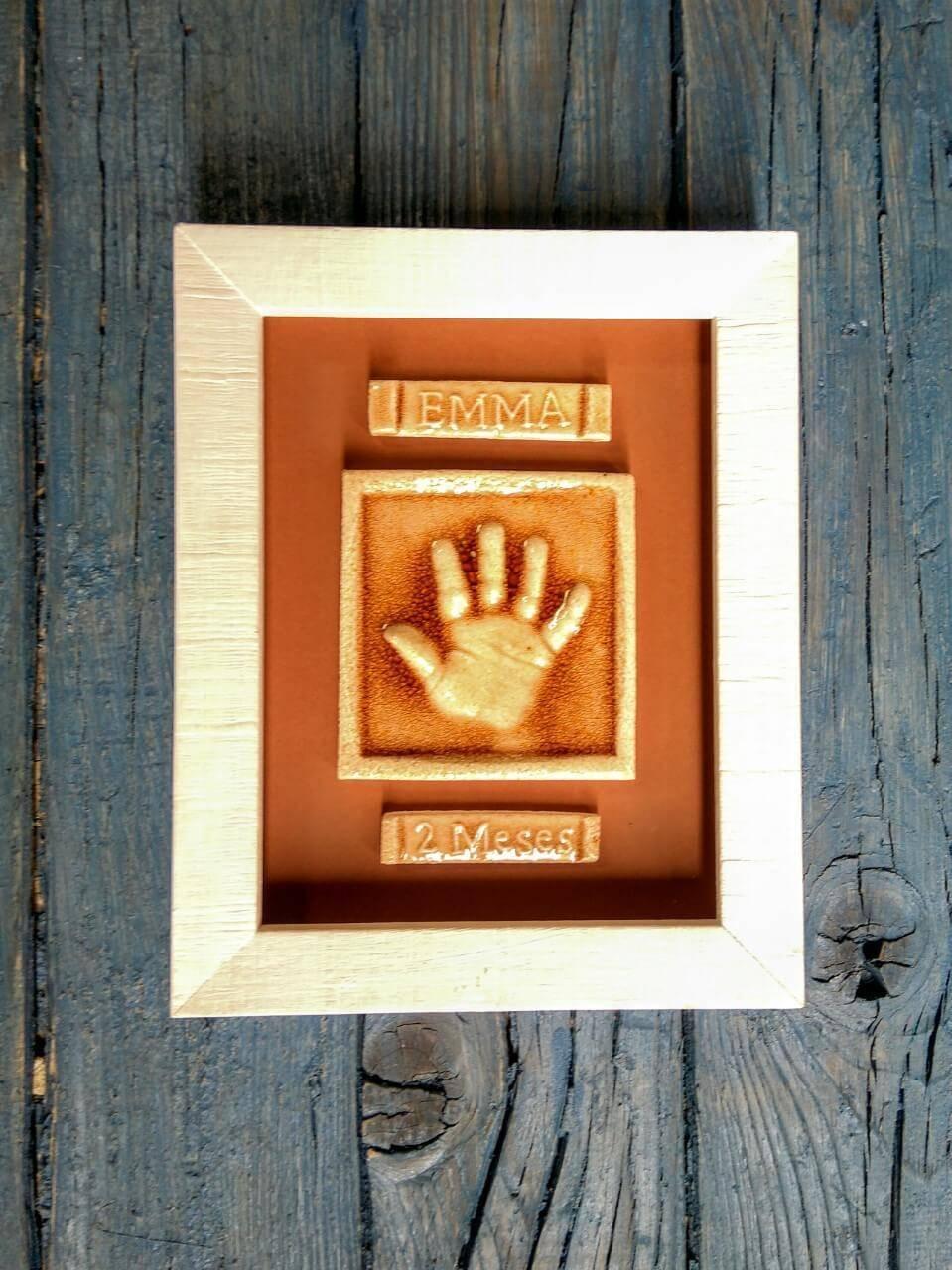 huella bebé ceramica marco